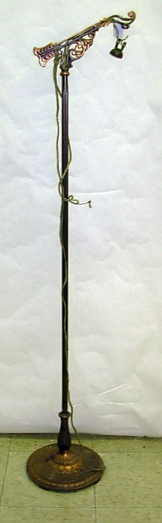 "1003: Brass bridge lamp, measures 58"" h., *note electri"