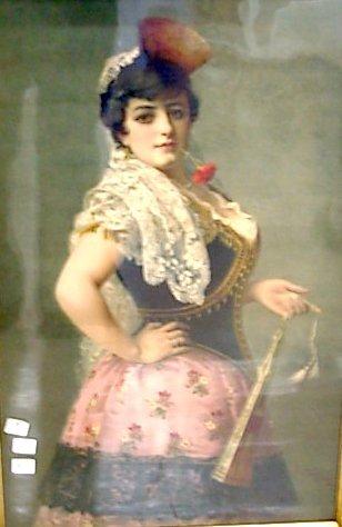 1010: Signed E. Fontana, Milano 1886 Print of a woman
