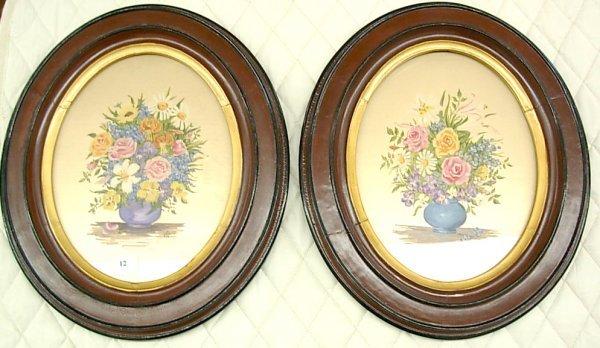 1012: Pair of Floral handpainted on silk initialed EFC,