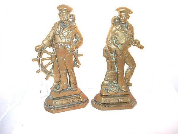 1019: Pair of brass bookends, sailors, embossed Britain