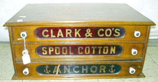 """1119: 3 Drawer oak spool cabinet, """"Clark & Co's, Spool"""