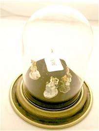 1303: Collection of Goebel Miniatures in a glass dome (