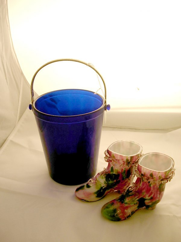 2002: Blue Glass Ice Bucket and a Pair of Spatter Glass