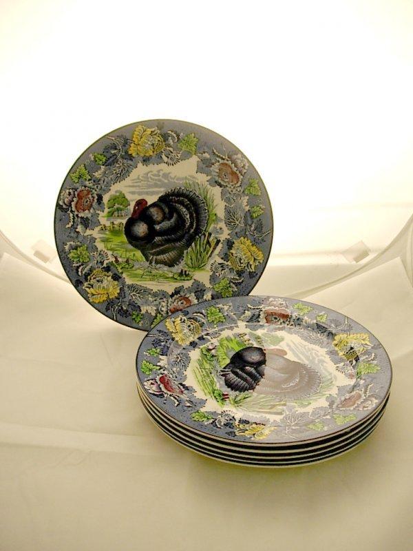 2004: Set of 6 Woods Burslem Turkey Plates