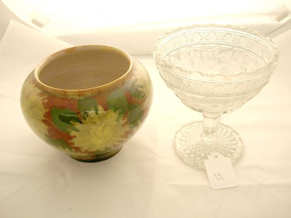 2022: Handpainted Italian Vase and a Early Pressed Glas