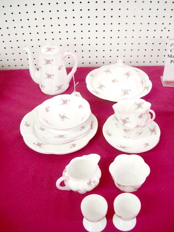 "2265: Shelley ""Bridal Rose"" Breakfast set:  Coffee pot,"
