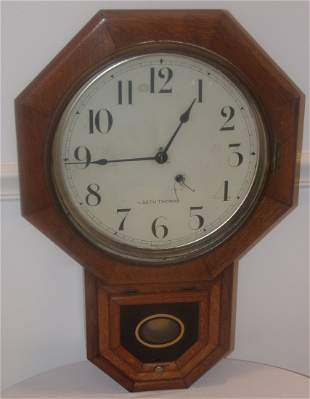 Oak Octagonal Schoolhouse Clock