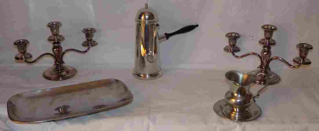 Candelabra, Pewter, Swedish Stainless Steel Pieces