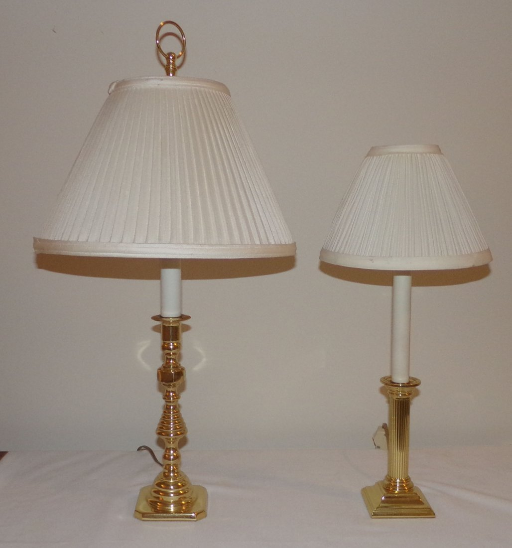 BALDWIN Brass Candlestick Lamp w Shade