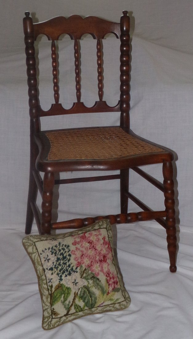 Victorian Caned Seat Child's Chair & Needlepoint Pillow