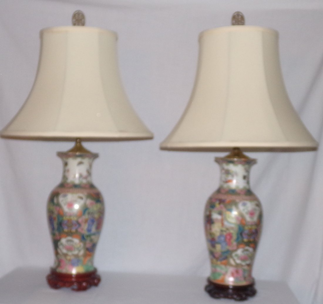 Pair Modern Rose Medallion Table Lamps