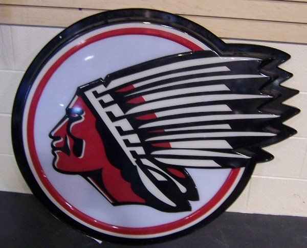 4008: Round Indian Motorcycle Sign