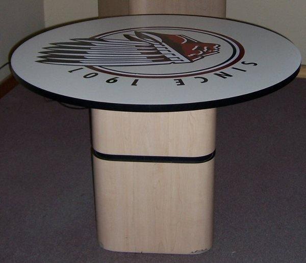 4012: Round Pedestal Table w/ Indian Motorcycle Logo