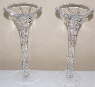Pair of Crystal Trumpet Form Candlesticks