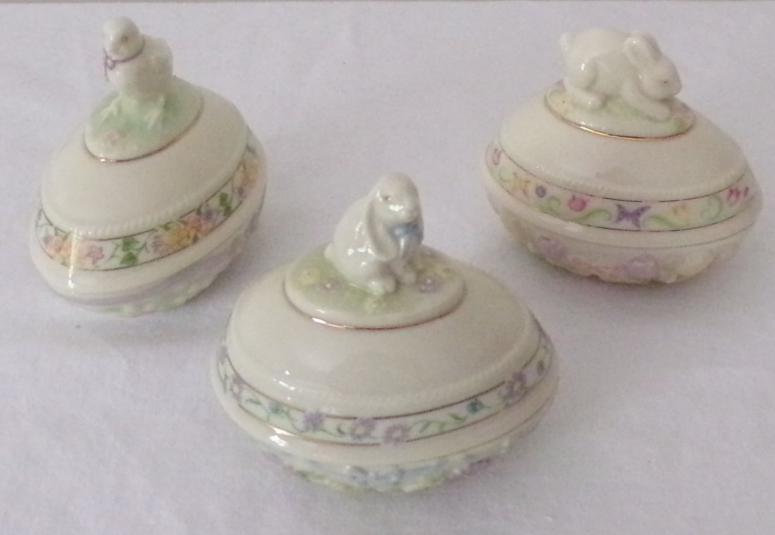 Grouping of 3 Lenox Egg Form Boxes