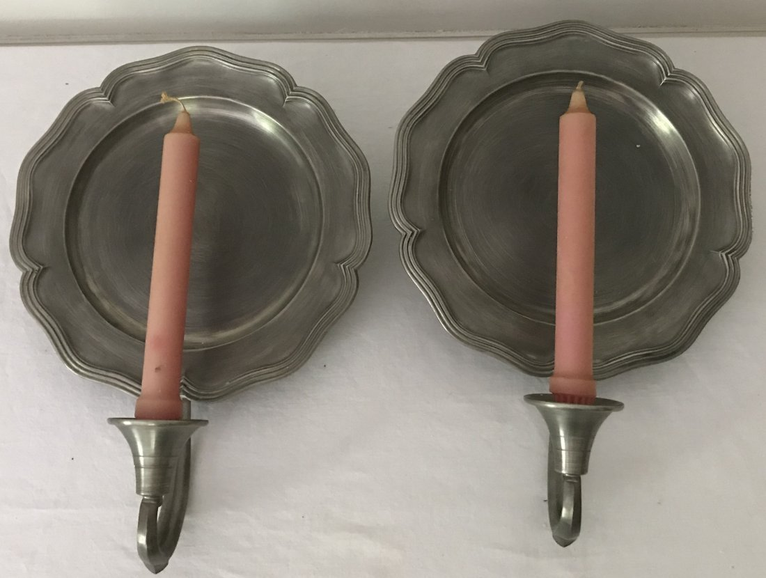 Pair of Reproduction Pewter Single Sconces