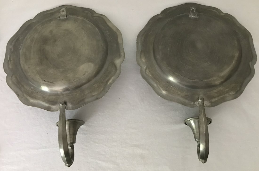 Pair of Reproduction Pewter Single Sconces - 2