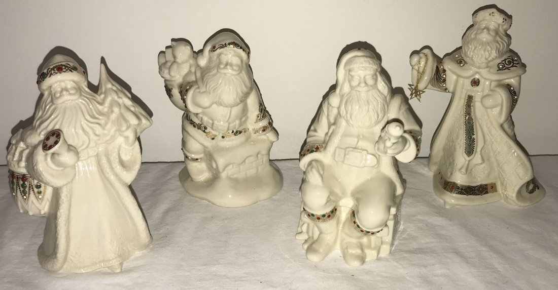 Grouping of 4 Lenox Santa Claus Figurines