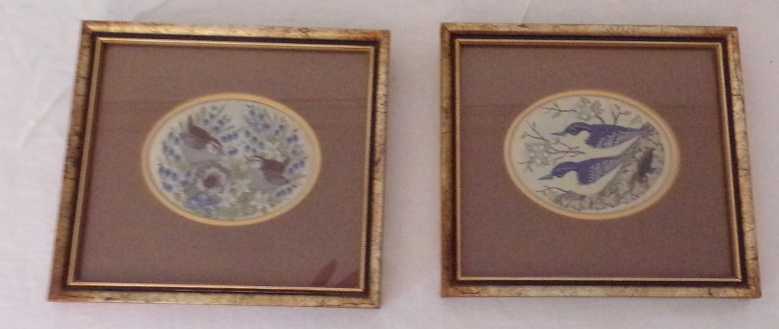 Pair of English Jacquard Woven Pictures