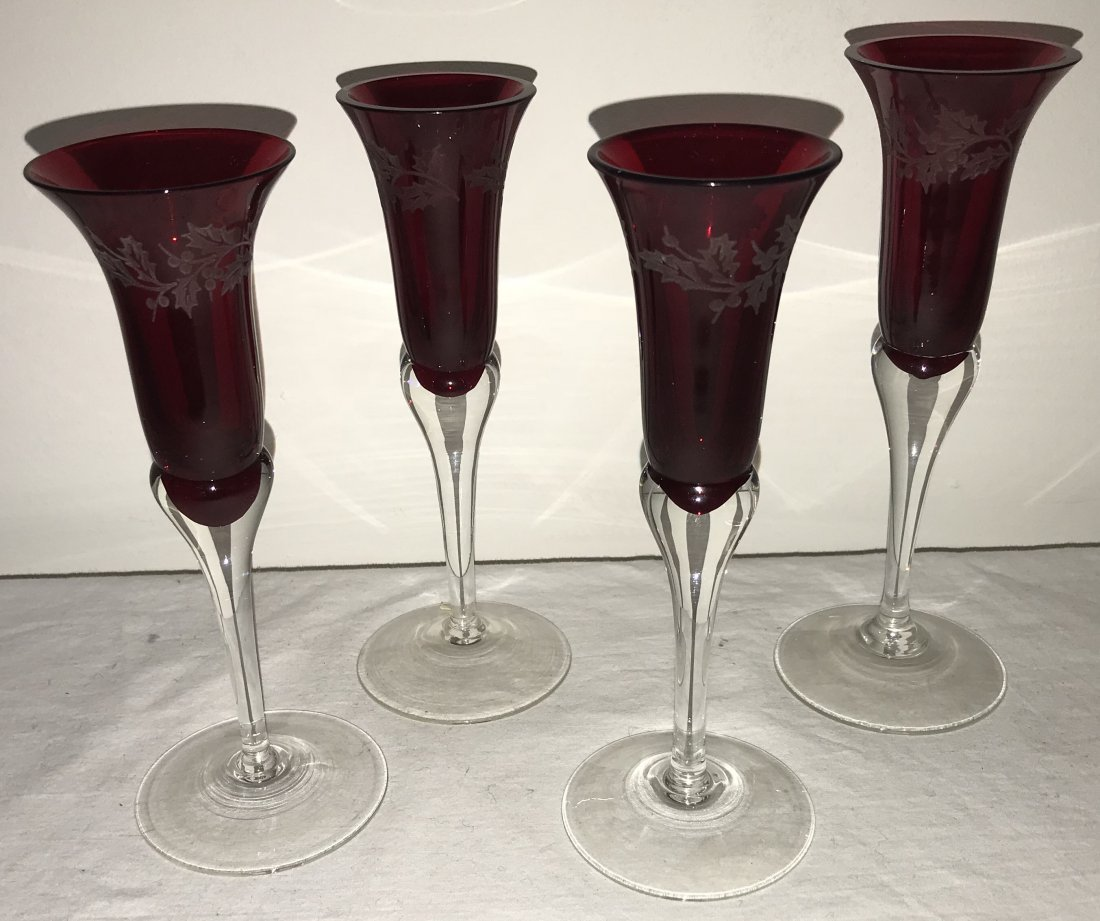 Grouping of 4 Ruby Stemmed Cordials - 2