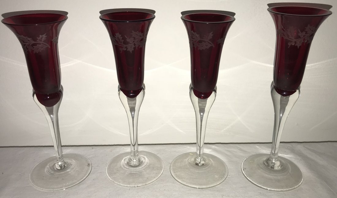 Grouping of 4 Ruby Stemmed Cordials - 4