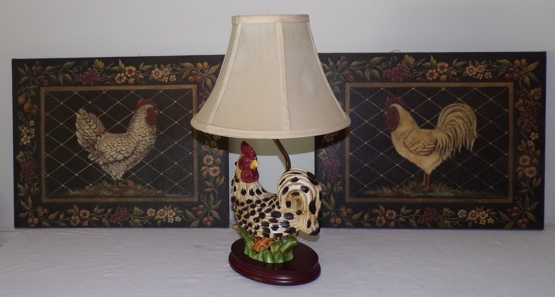 Pair of Modern Faux Paintings AND Modern Rooster Lamp