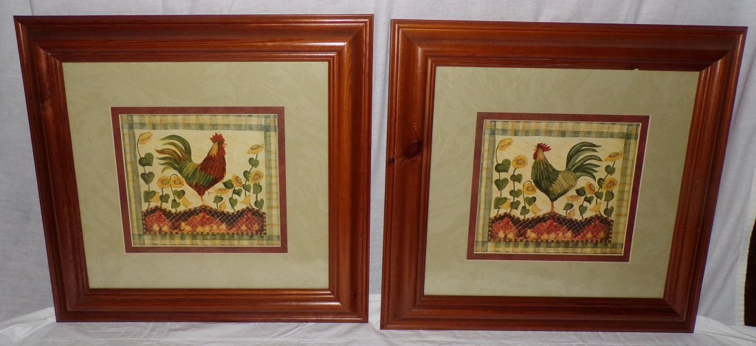 Pair of Rooster Prints AND Framed Tapestry of Rooster