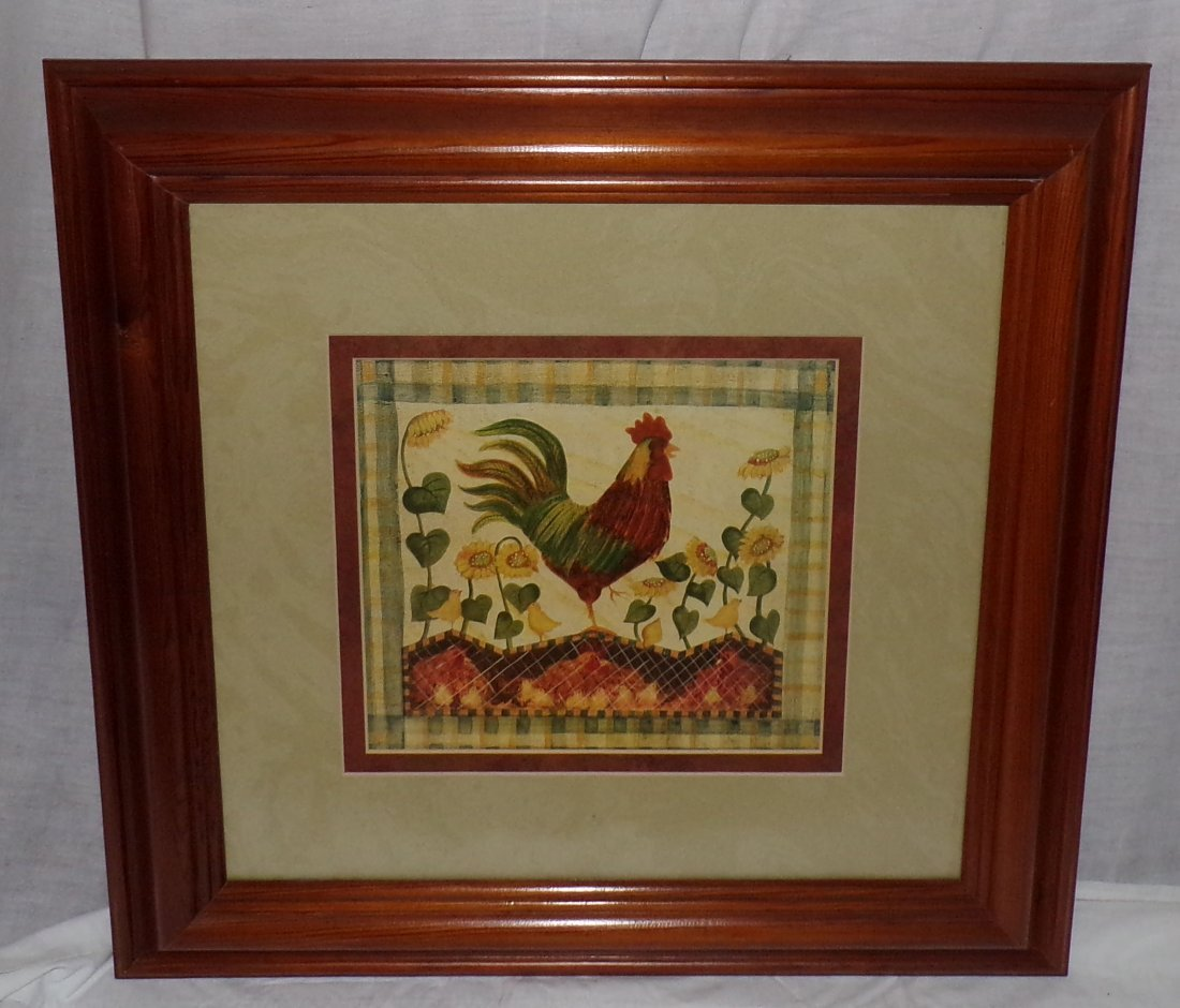 Pair of Rooster Prints AND Framed Tapestry of Rooster - 2