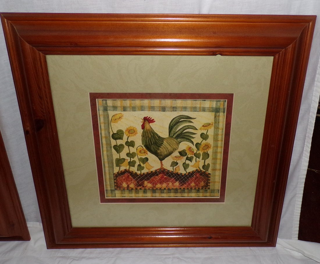 Pair of Rooster Prints AND Framed Tapestry of Rooster - 4