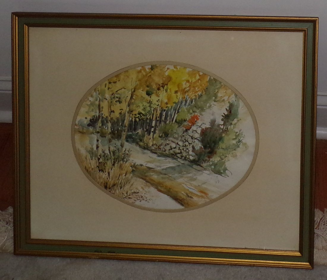 "Framed Watercolor of ""Woodsy"" Road/Trail Scene"