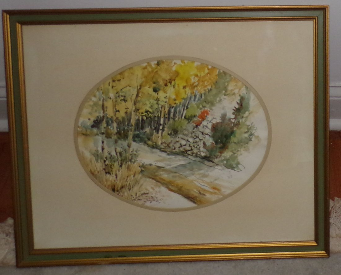 "Framed Watercolor of ""Woodsy"" Road/Trail Scene - 2"