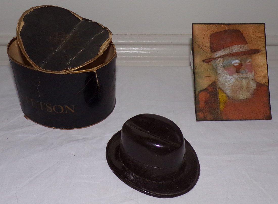 Salesman Sample Stetson Hat AND Portrait on Copper