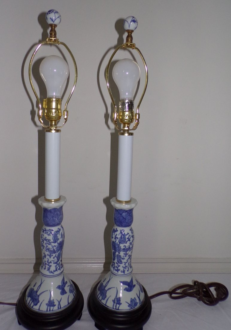 Pair of Modern Table Lamps AND Single Table Lamp - 3