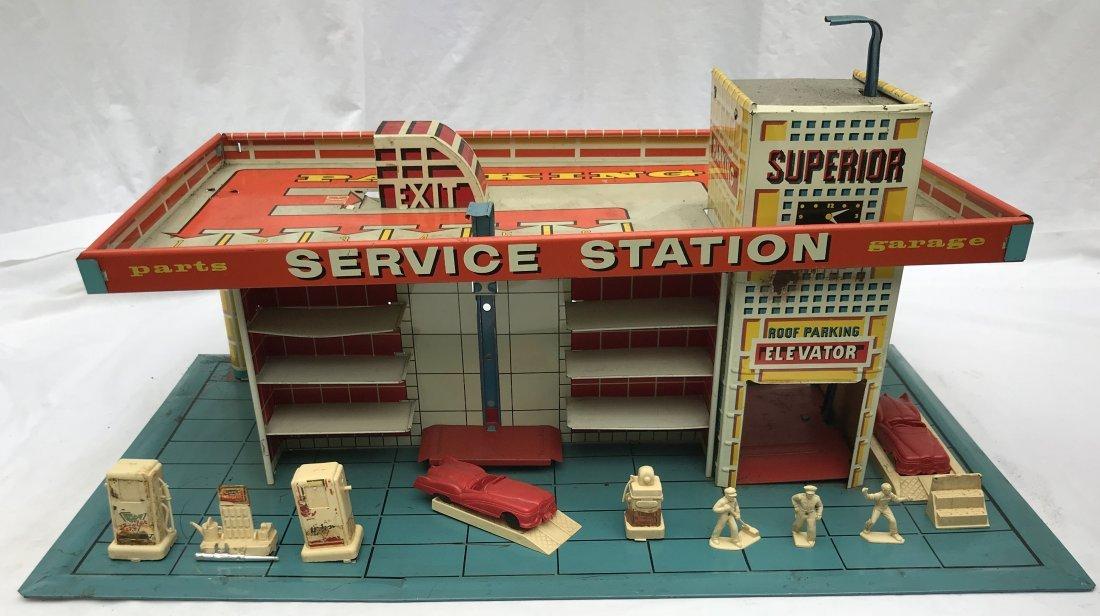 Vintage Tin Litho Service Station - 2