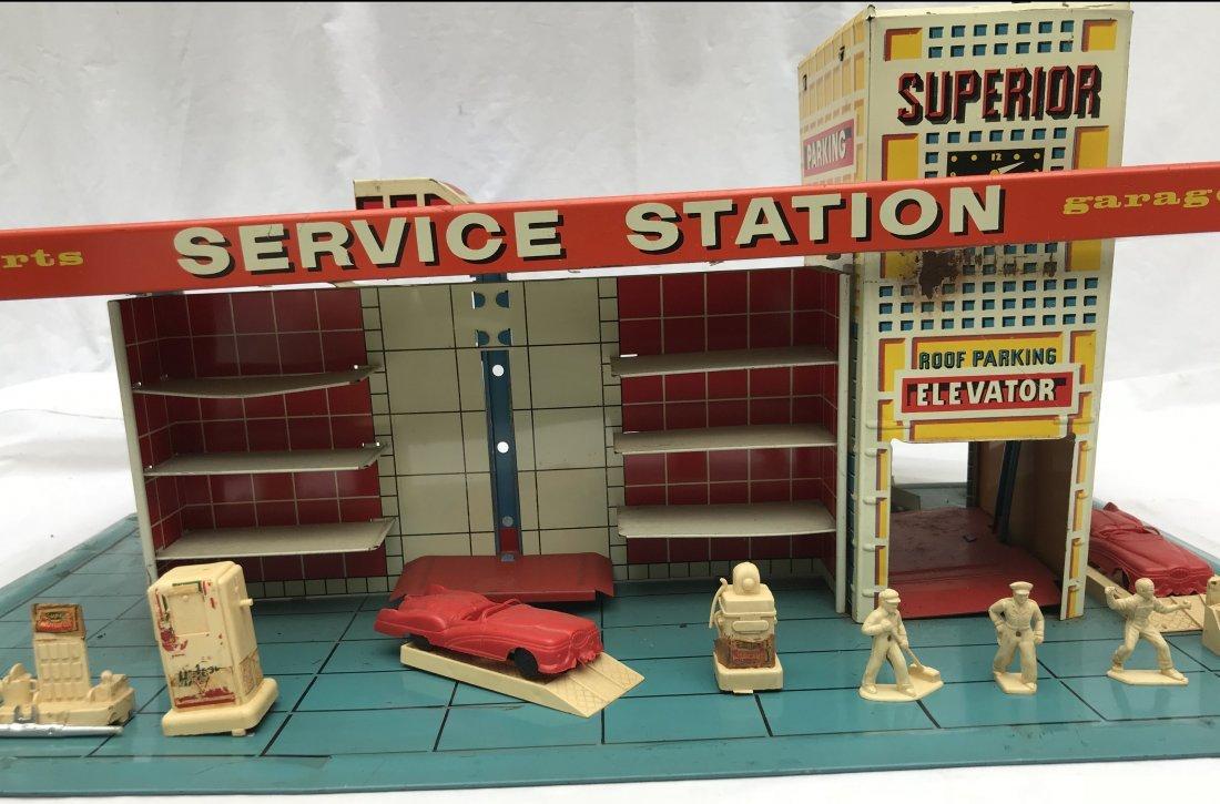 Vintage Tin Litho Service Station - 3