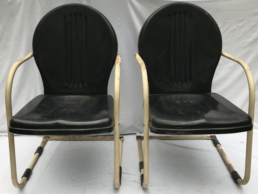 Set of 4 Matching Vintage Pressed Steel Armchairs