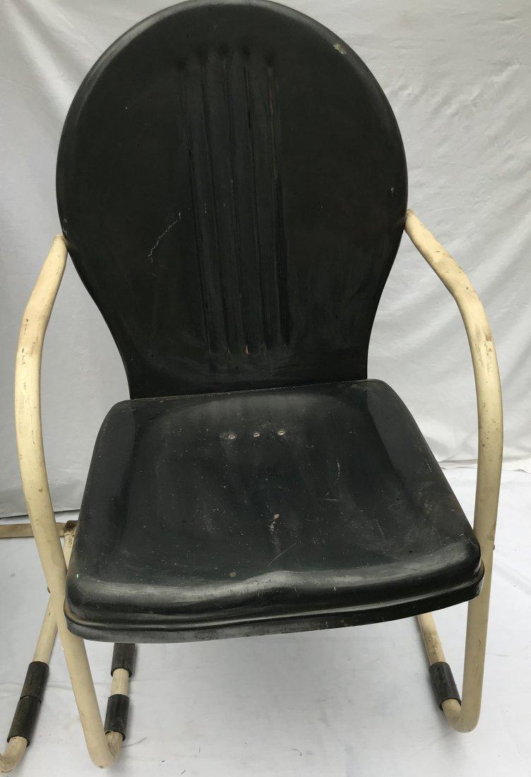 Set of 4 Matching Vintage Pressed Steel Armchairs - 2