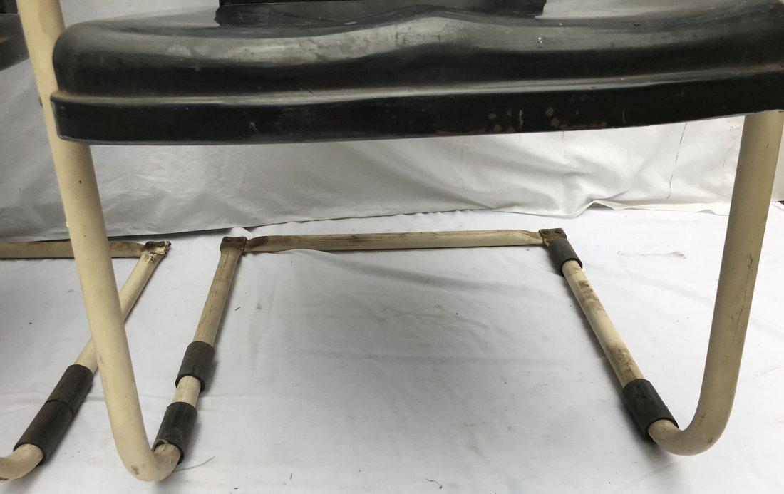 Set of 4 Matching Vintage Pressed Steel Armchairs - 3