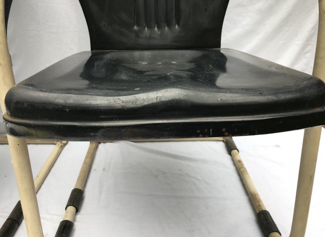 Set of 4 Matching Vintage Pressed Steel Armchairs - 4