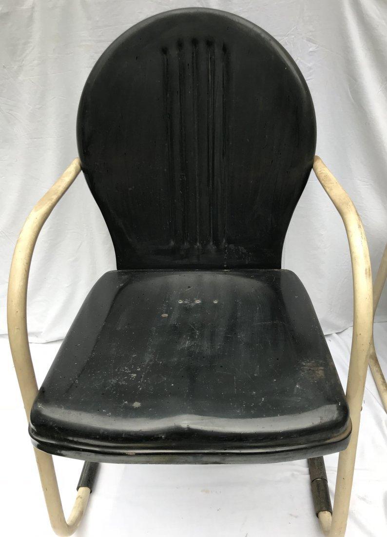 Set of 4 Matching Vintage Pressed Steel Armchairs - 6