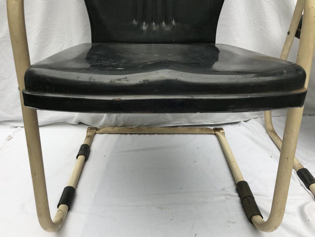 Set of 4 Matching Vintage Pressed Steel Armchairs - 7