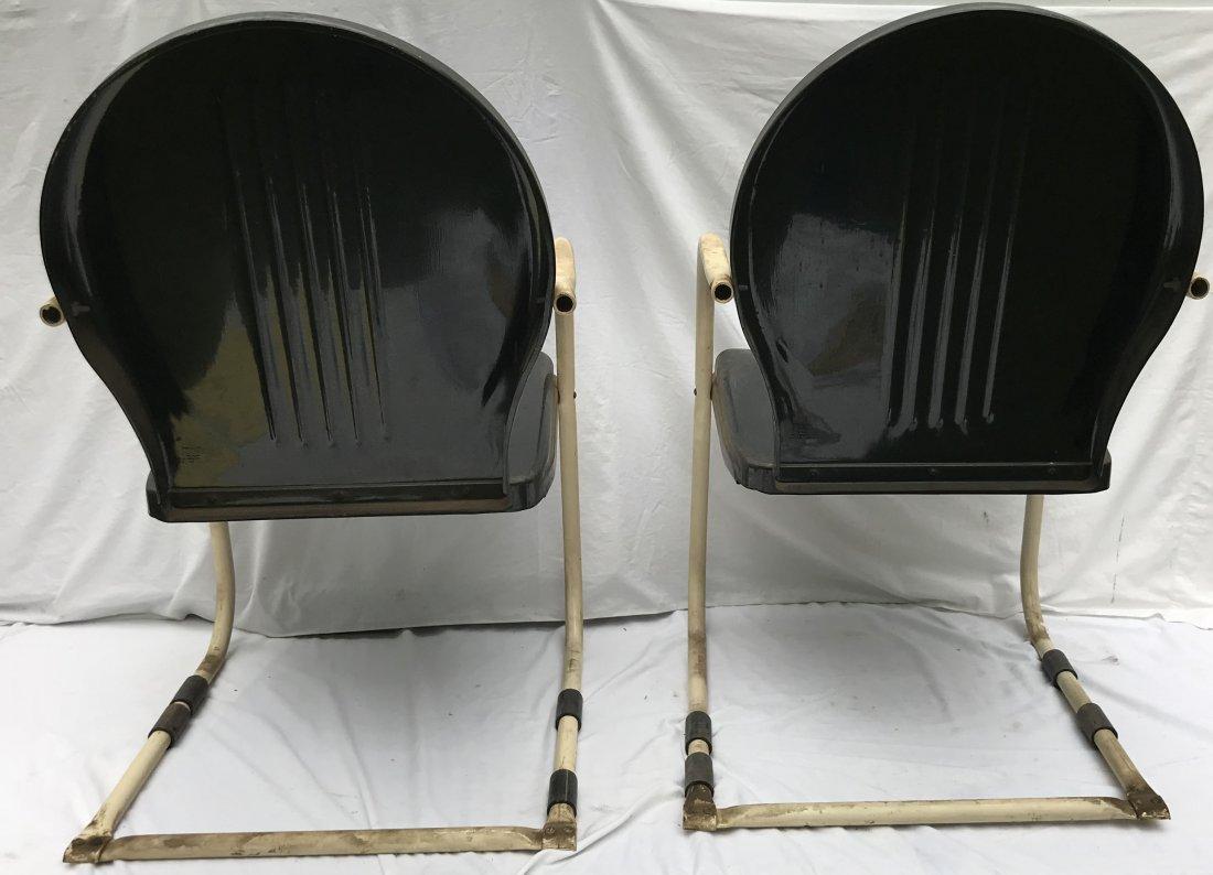 Set of 4 Matching Vintage Pressed Steel Armchairs - 8