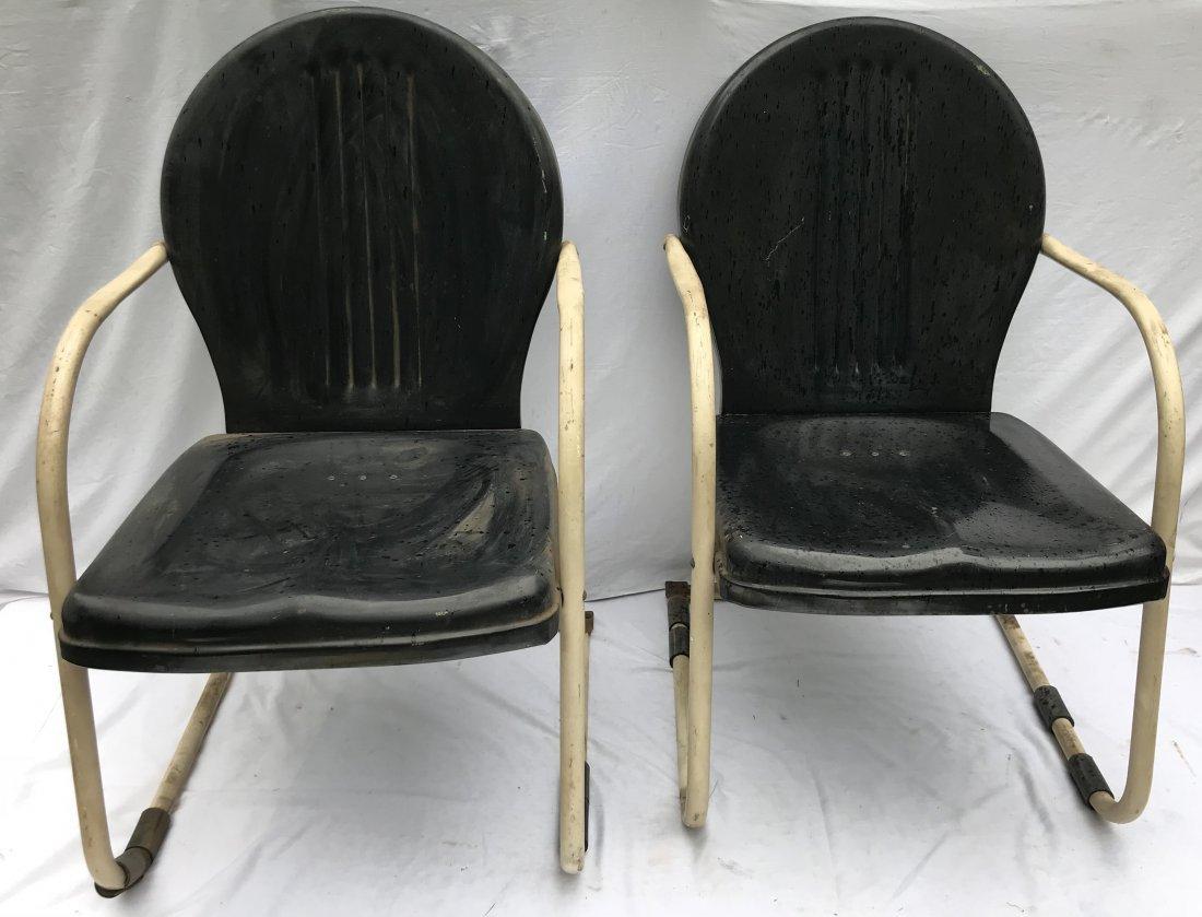 Set of 4 Matching Vintage Pressed Steel Armchairs - 9