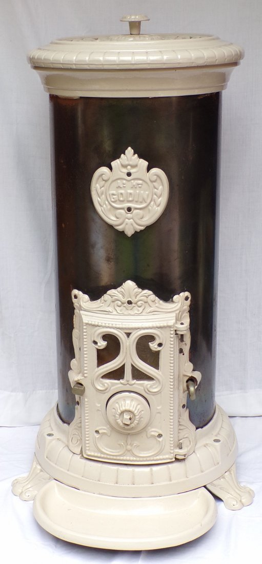 Reproduction Victorian Cast Iron & Steel Parlor Stove