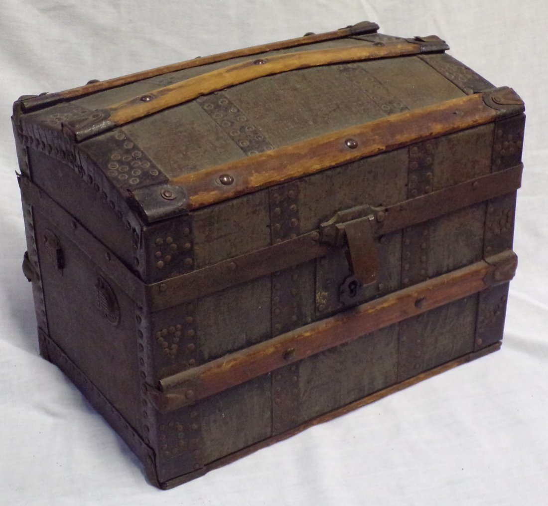 Antique Miniature/Doll Size Dome Top Trunk
