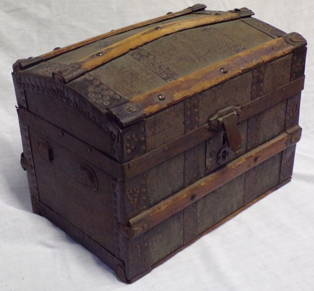 Antique Miniature/Doll Size Dome Top Trunk - 2