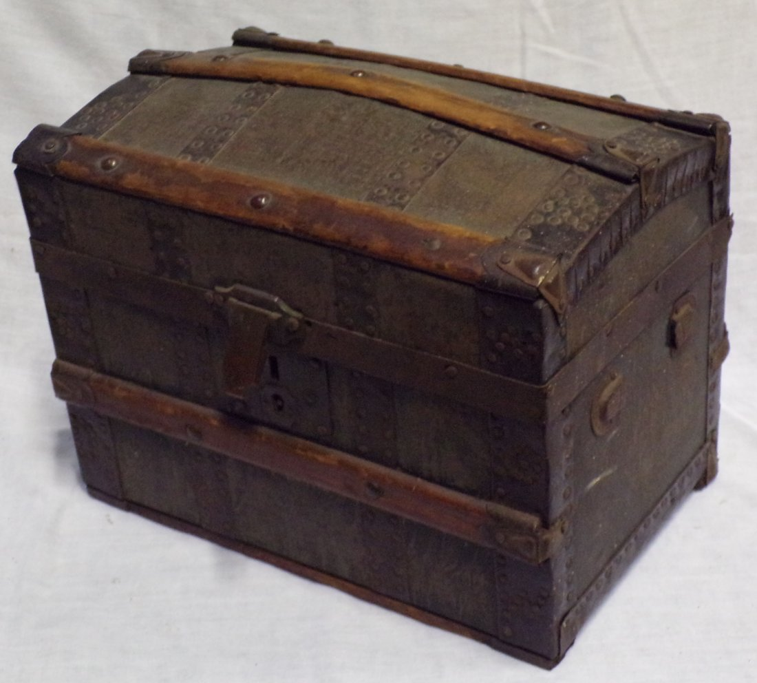 Antique Miniature/Doll Size Dome Top Trunk - 3