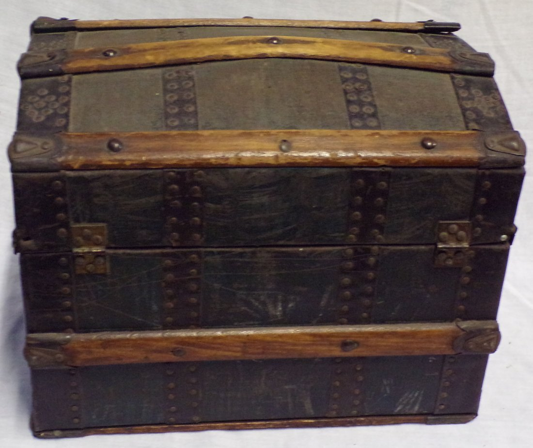 Antique Miniature/Doll Size Dome Top Trunk - 4