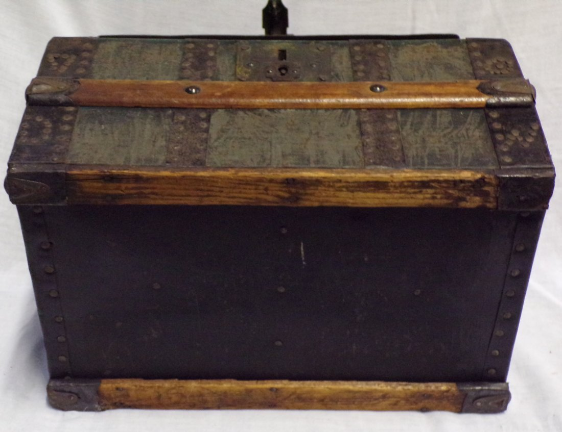 Antique Miniature/Doll Size Dome Top Trunk - 6