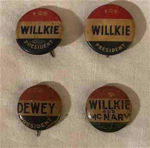 Grouping of 4 Vintage 1940s Campaign Buttons